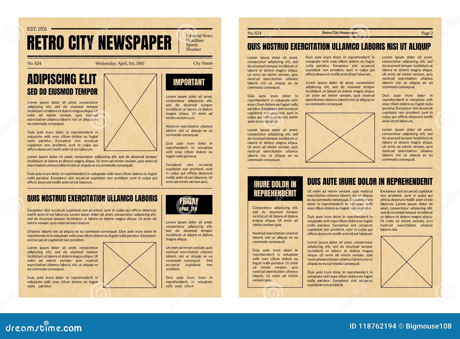 Vintage Newspaper Template Sheets Set Vector Stock Vector