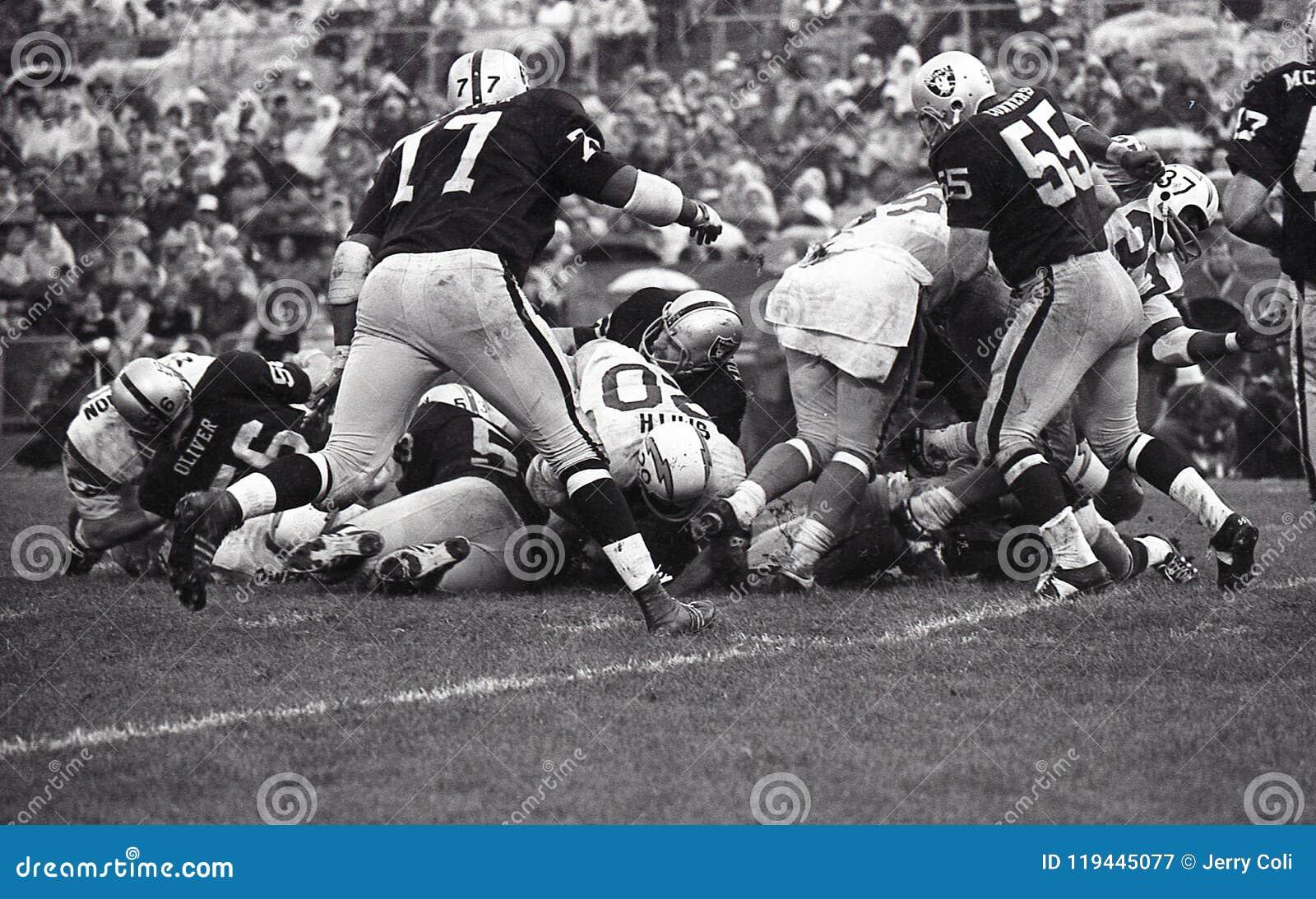 Vintage NFL San Diego Chargers contra Oakland Raiders, o 13 de outubro de 1968