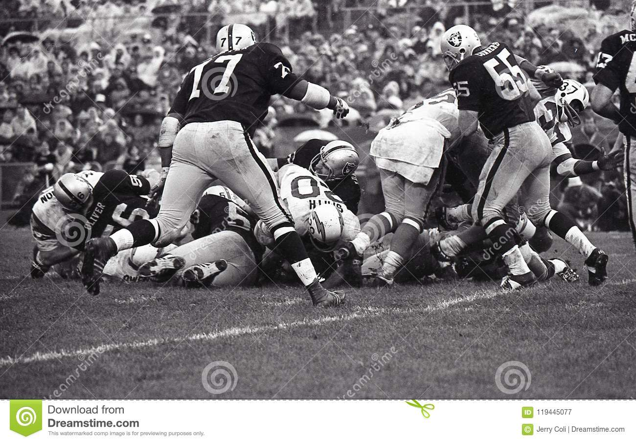 Vintage NFL San Diego Chargers vs Oakland Raiders, October 13, 1968