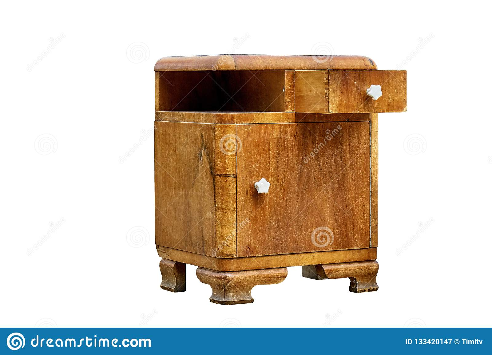 Old Bedside Table In Mid Century Style Isolated On White Background Bedroom Furniture Stock Image Image Of Modern Furniture 133420147