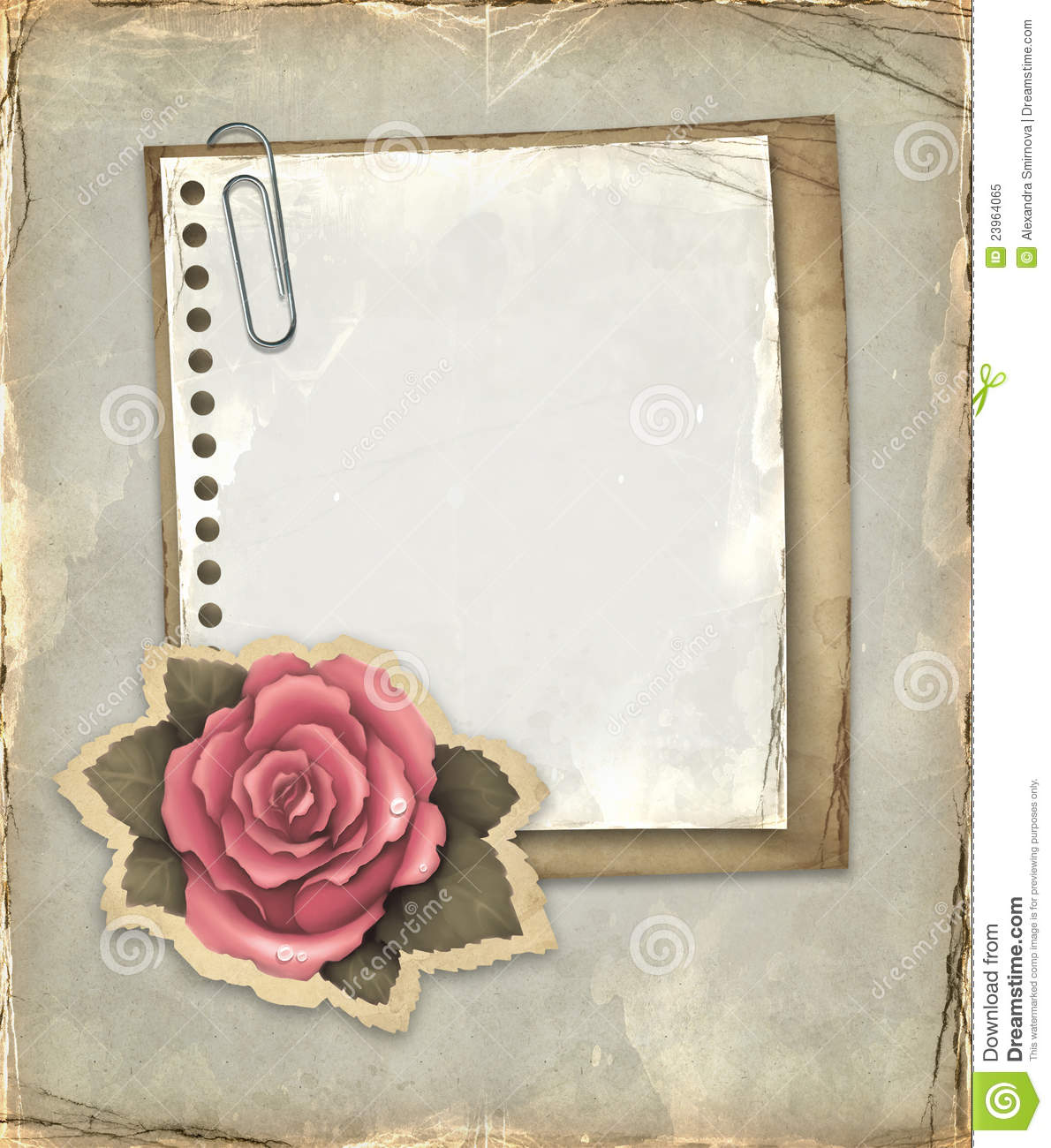 vintage notebook page stock illustration  illustration of flower