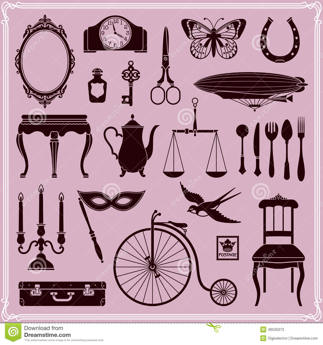 vintage objects and icons set 2 stock vector image 49535073. Black Bedroom Furniture Sets. Home Design Ideas