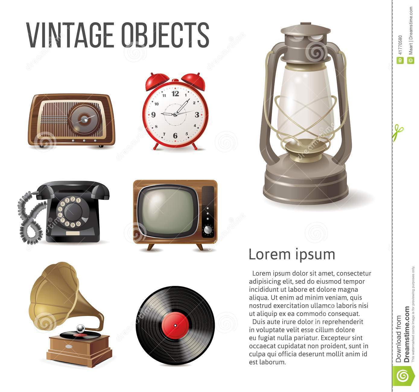 Vintage Objects Stock Vector Image 41770580