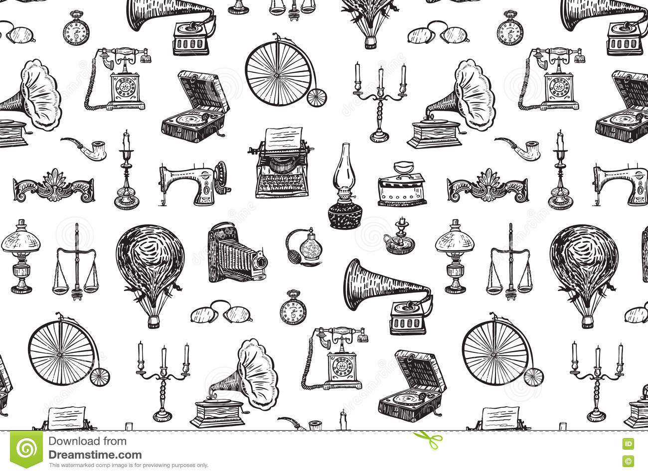 Vintage Objects Pattern Stock Vector Illustration Of
