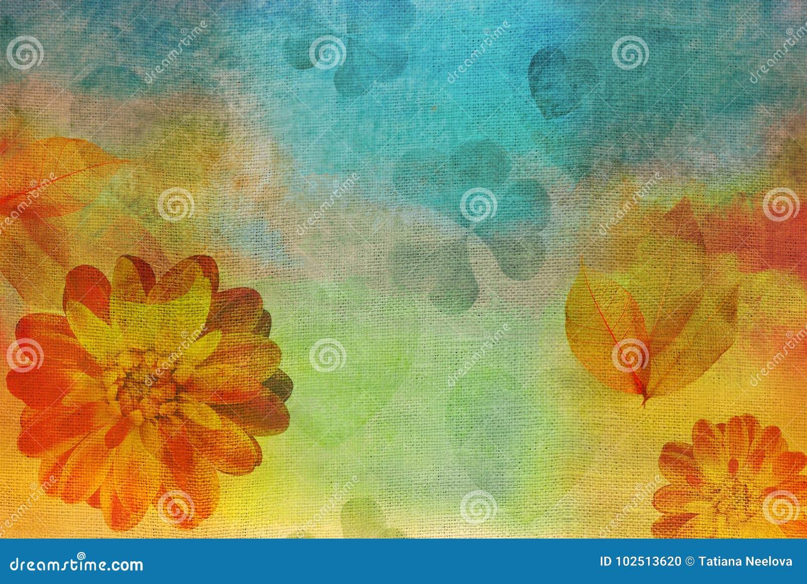 vintage oil gouache painting canvas stylization watercolor dahlias