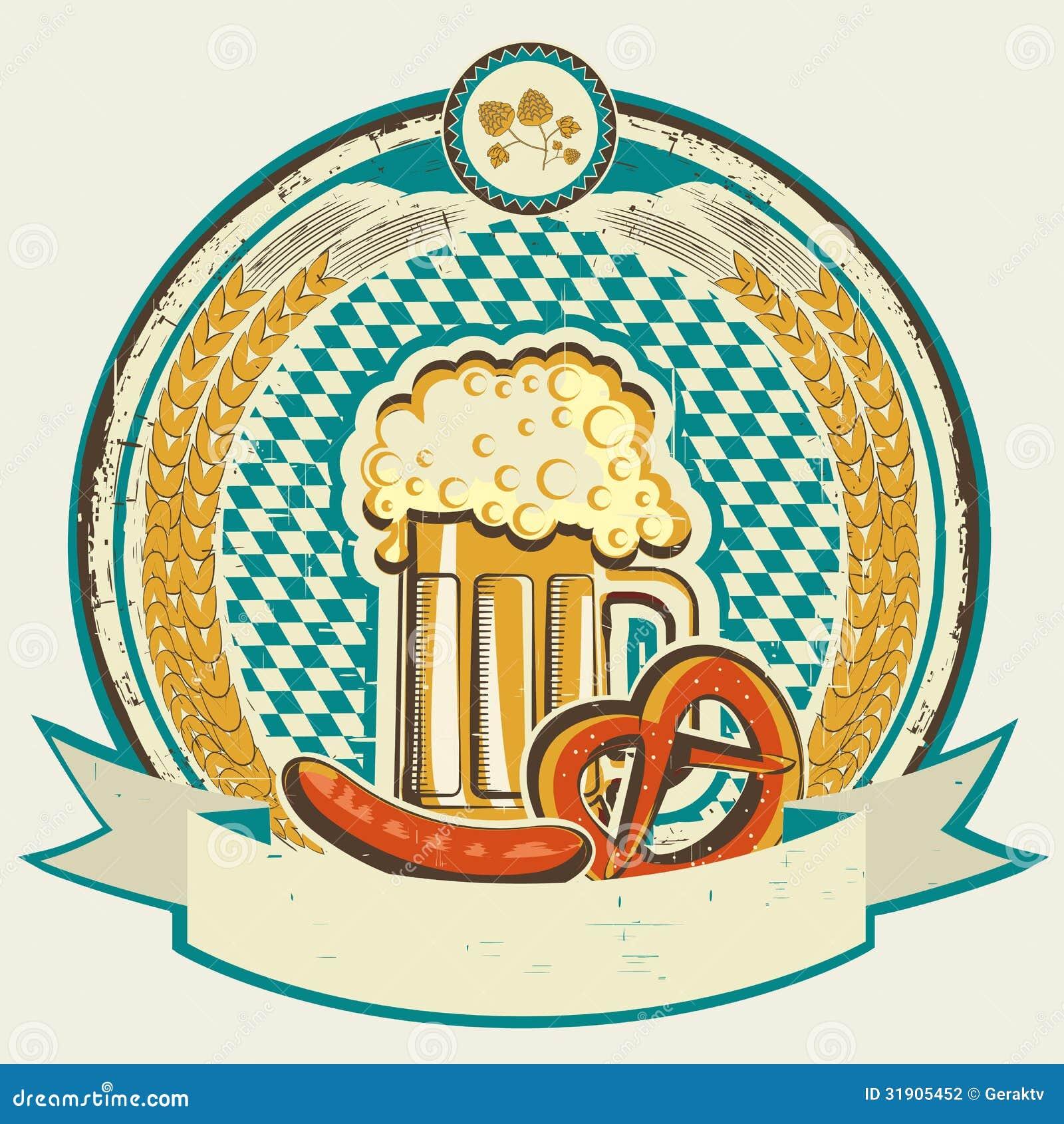 Vintage oktoberfest label with beer and food on ol