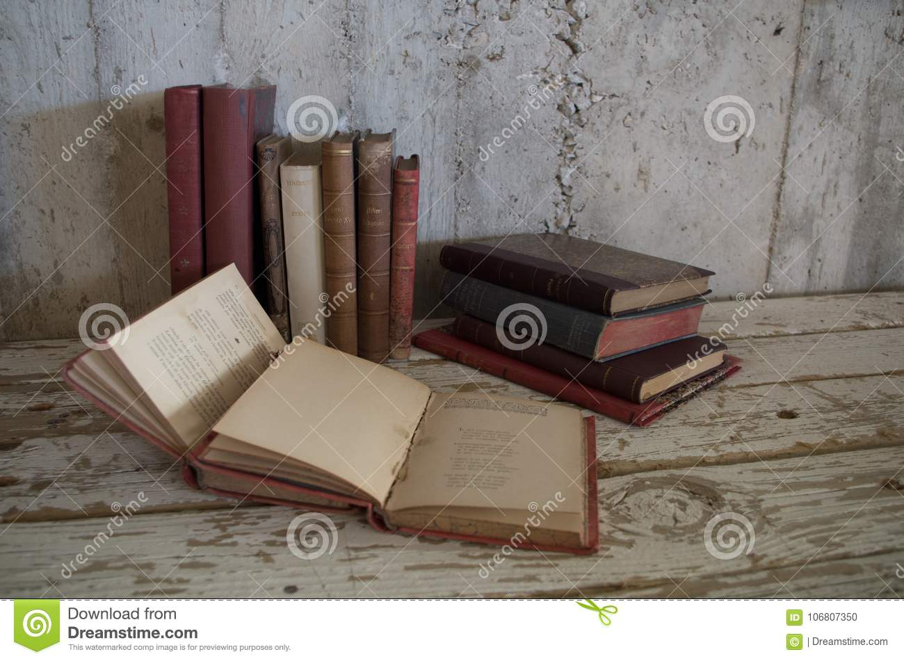 Vintage old antique books