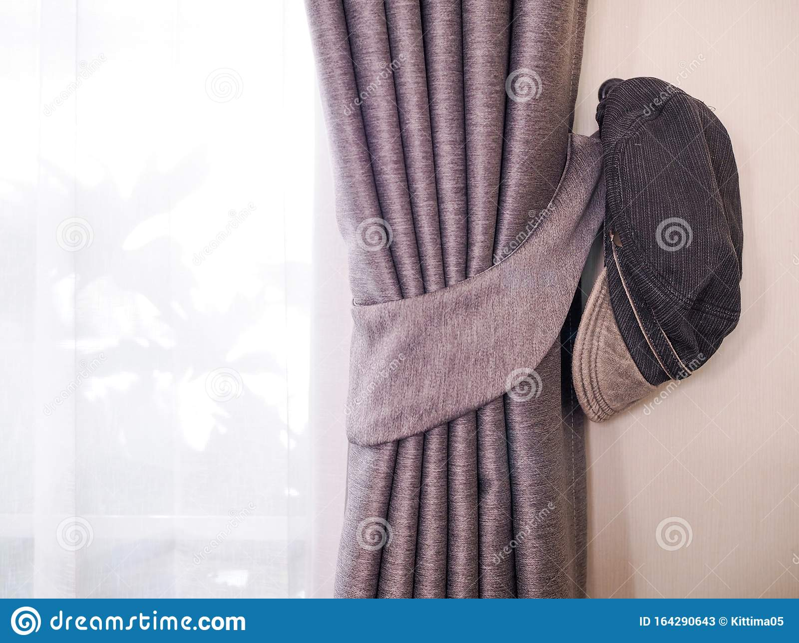 Vintage Old Black Cloth Hat Hanging With Door Curtain Stock Image Image Of French Door 164290643