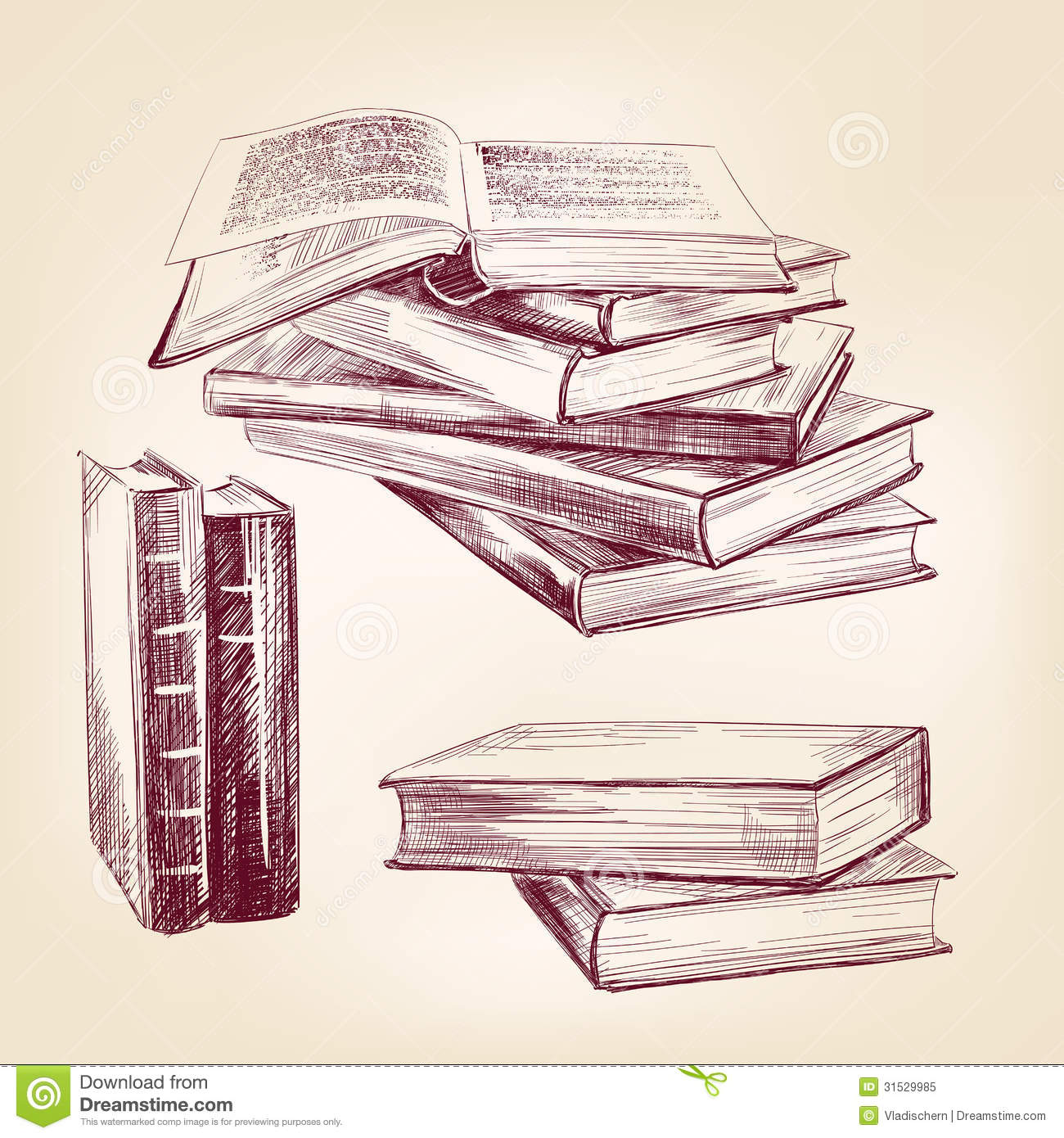 Vintage Old Books Hand Drawn Set Stock Vector - Image ...