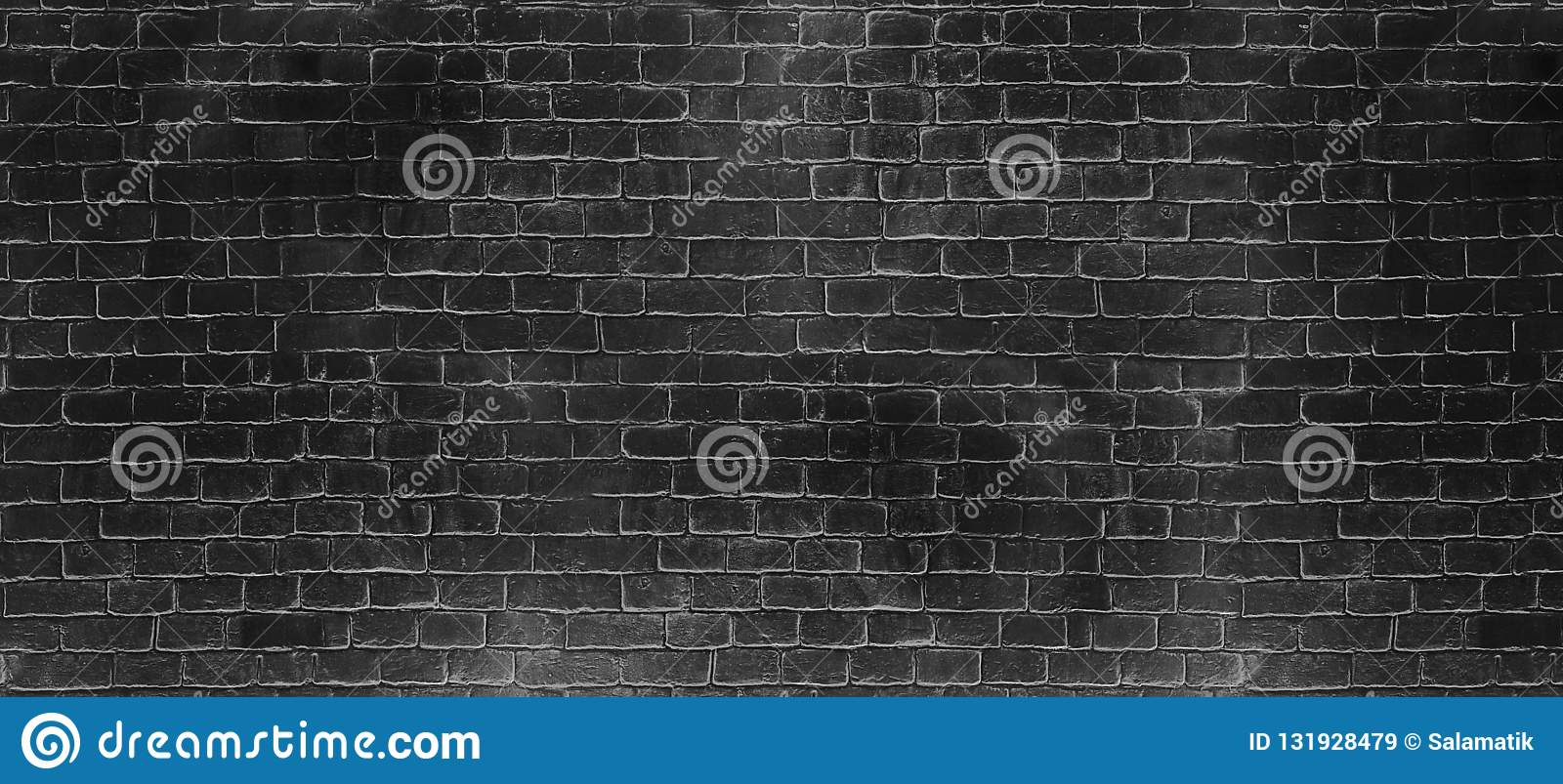 Vintage old dark black wash brick wall texture. Panoramic background for your text or image