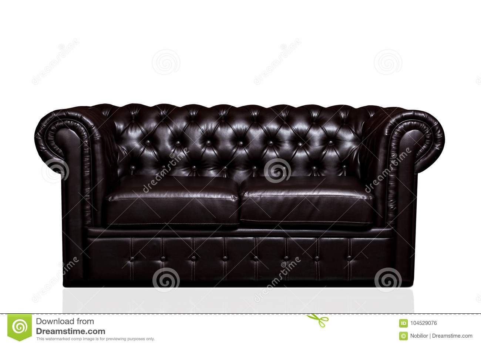Vintage Old Dark Brown Leather Sofa Stock Photo - Image of ...