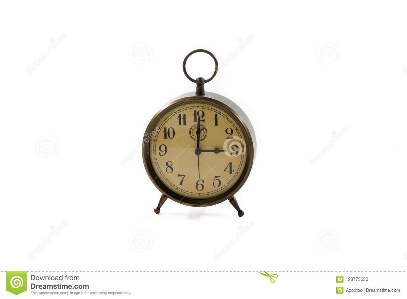 Vintage Old Fashioned Alarm Clock Copper Retro Stock Photo