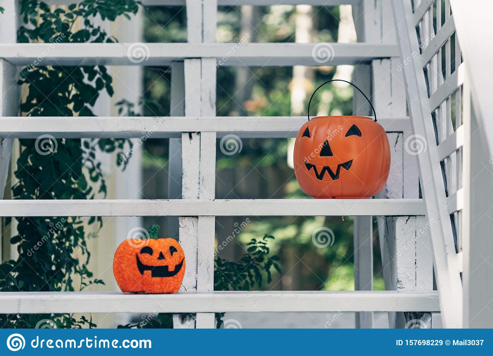 Vintage Old Fashioned Retro Halloween Outdoor Decorations Garden Halloween Decor With Pumpkin Metal House Stock Image Image Of Decor Decorations 157698229