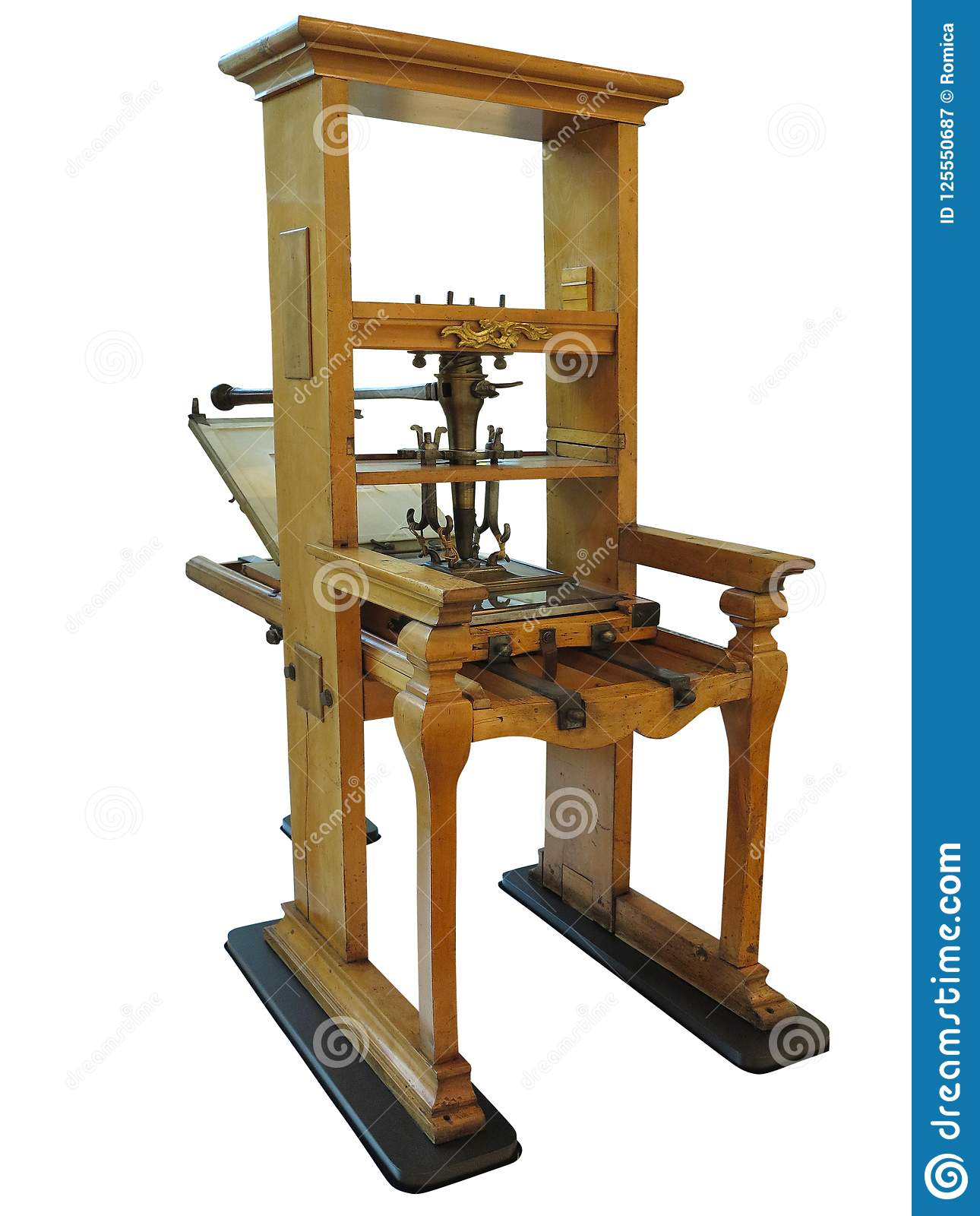 Vintage old letterpress printing manual machine isolated on whit