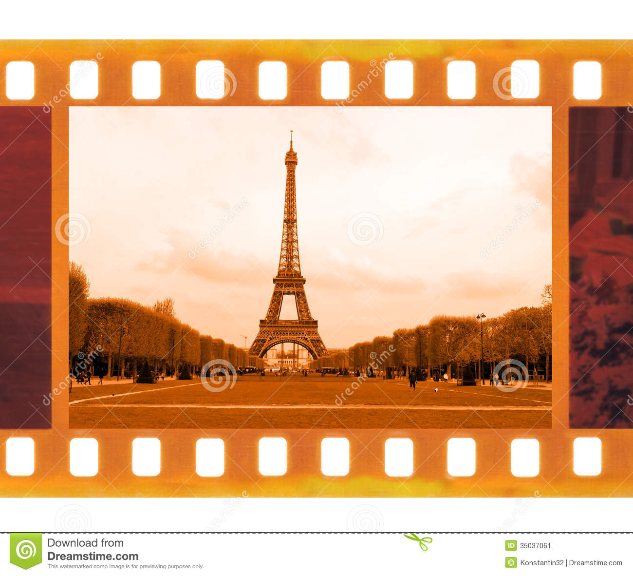 vintage old 35mm frame photo film with eiffel tower in paris  fr stock image