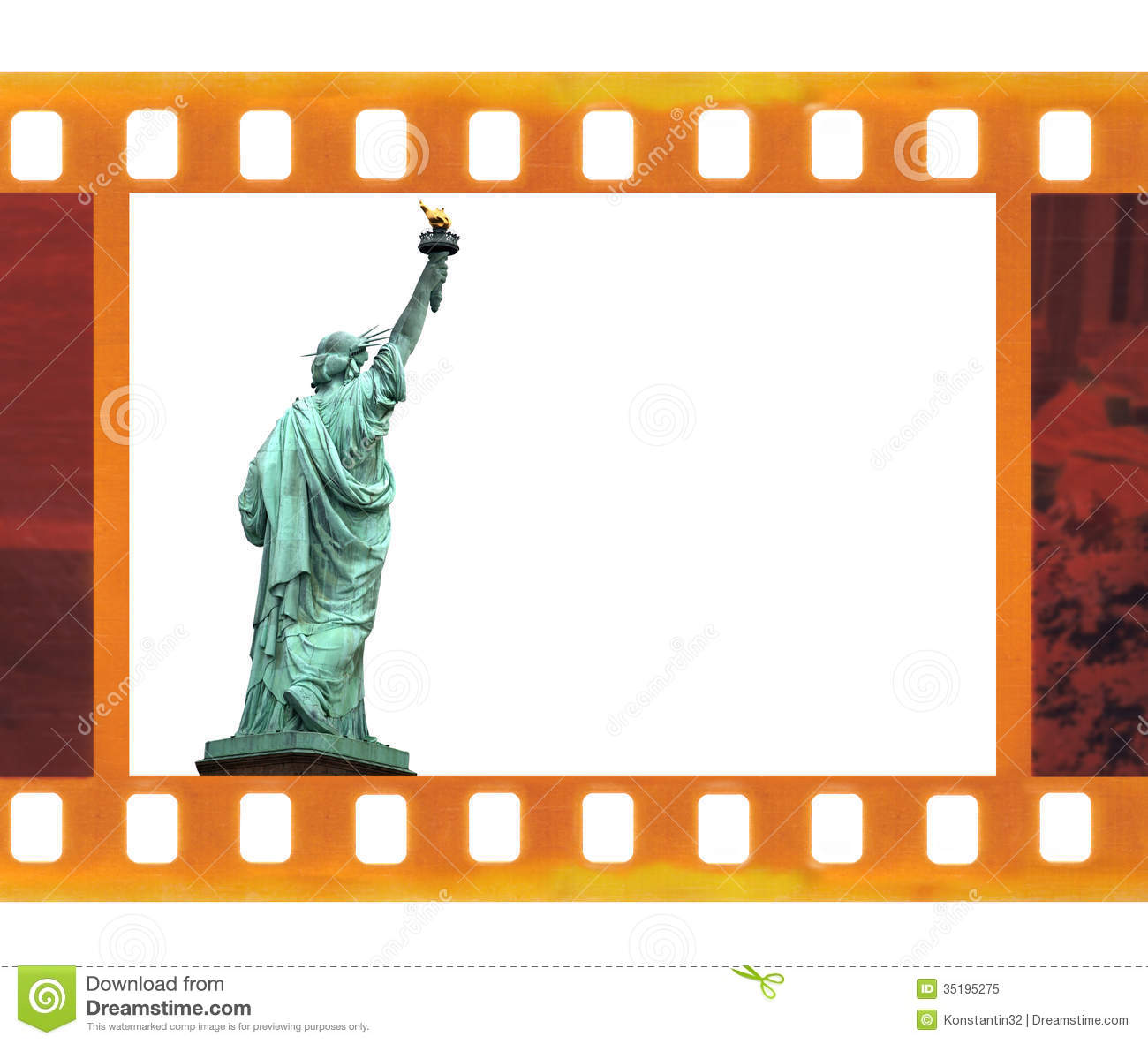 Vintage Old 35mm Frame Photo Film With Ny Statue Of Liberty Usa