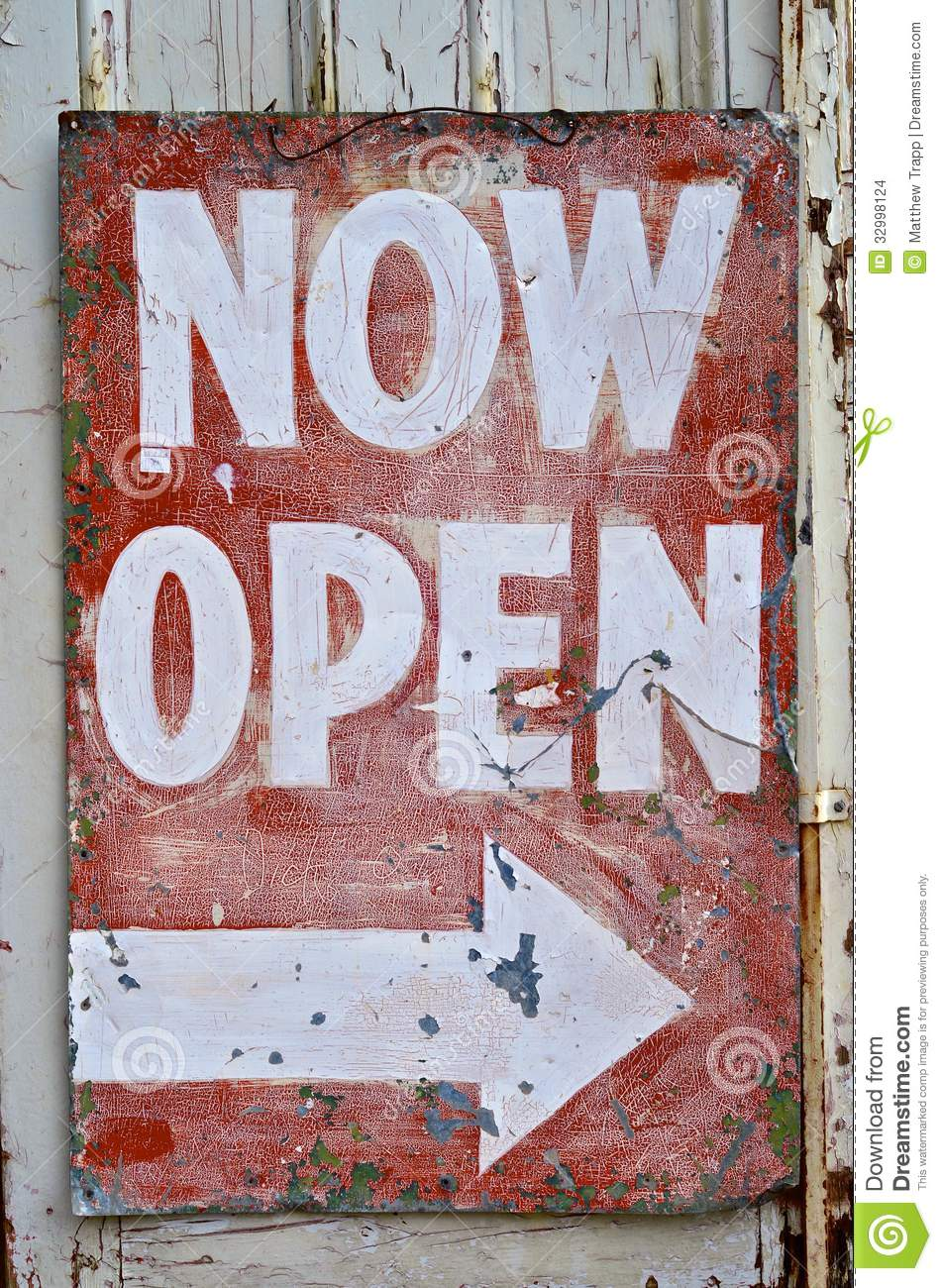 Vintage Old Now Open Sign Stock Photo Image Of Letter
