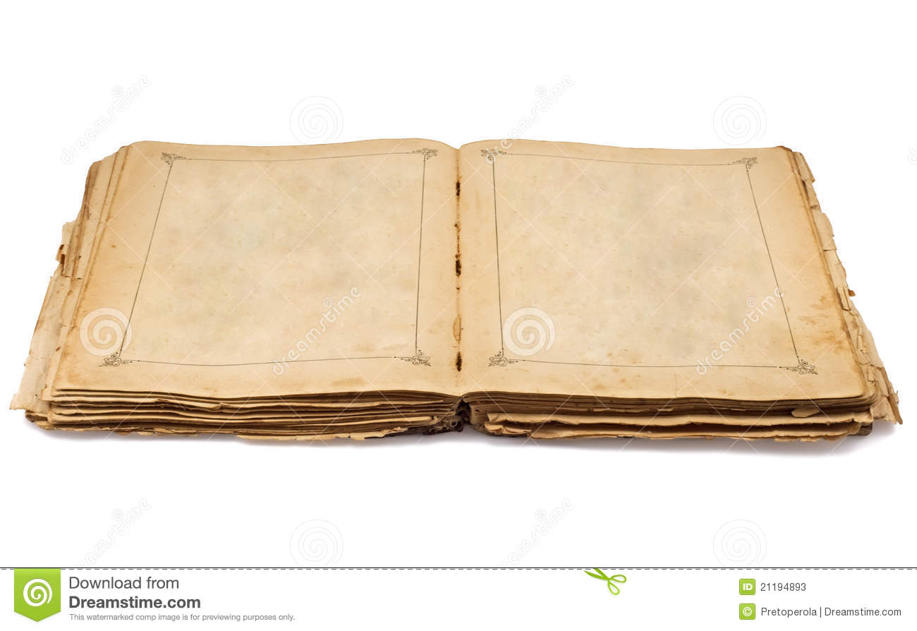 Vintage old open book and empty pages