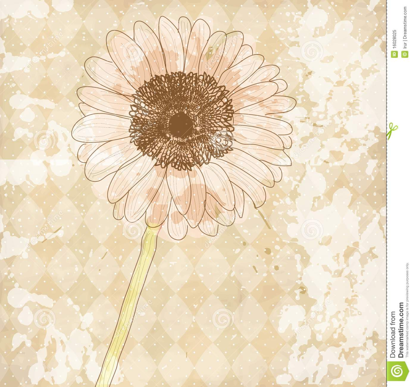 Vintage old paper background with flower