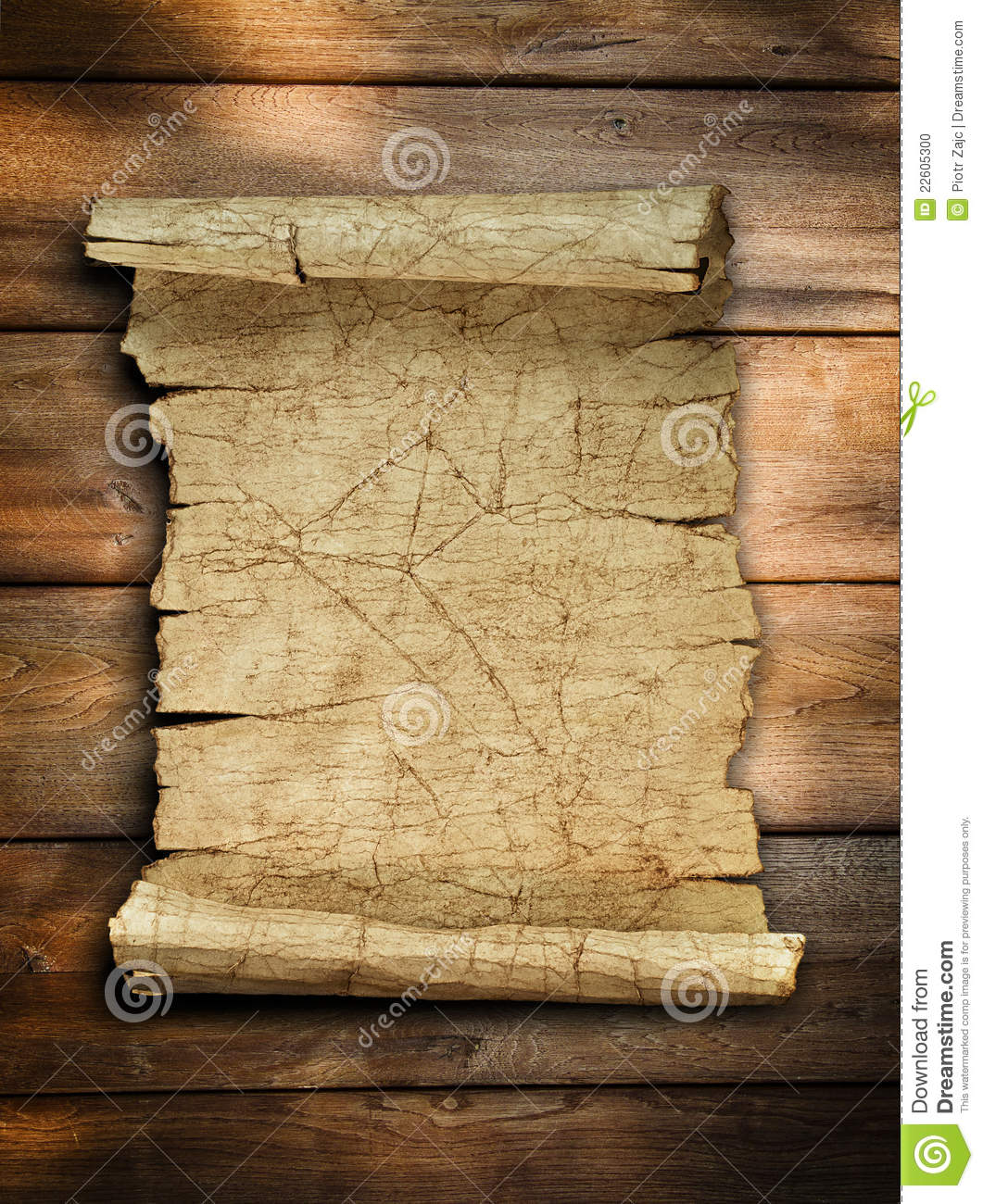 Antique Scroll Paper: Vintage Old Paper Scroll At Wood Stock Photo