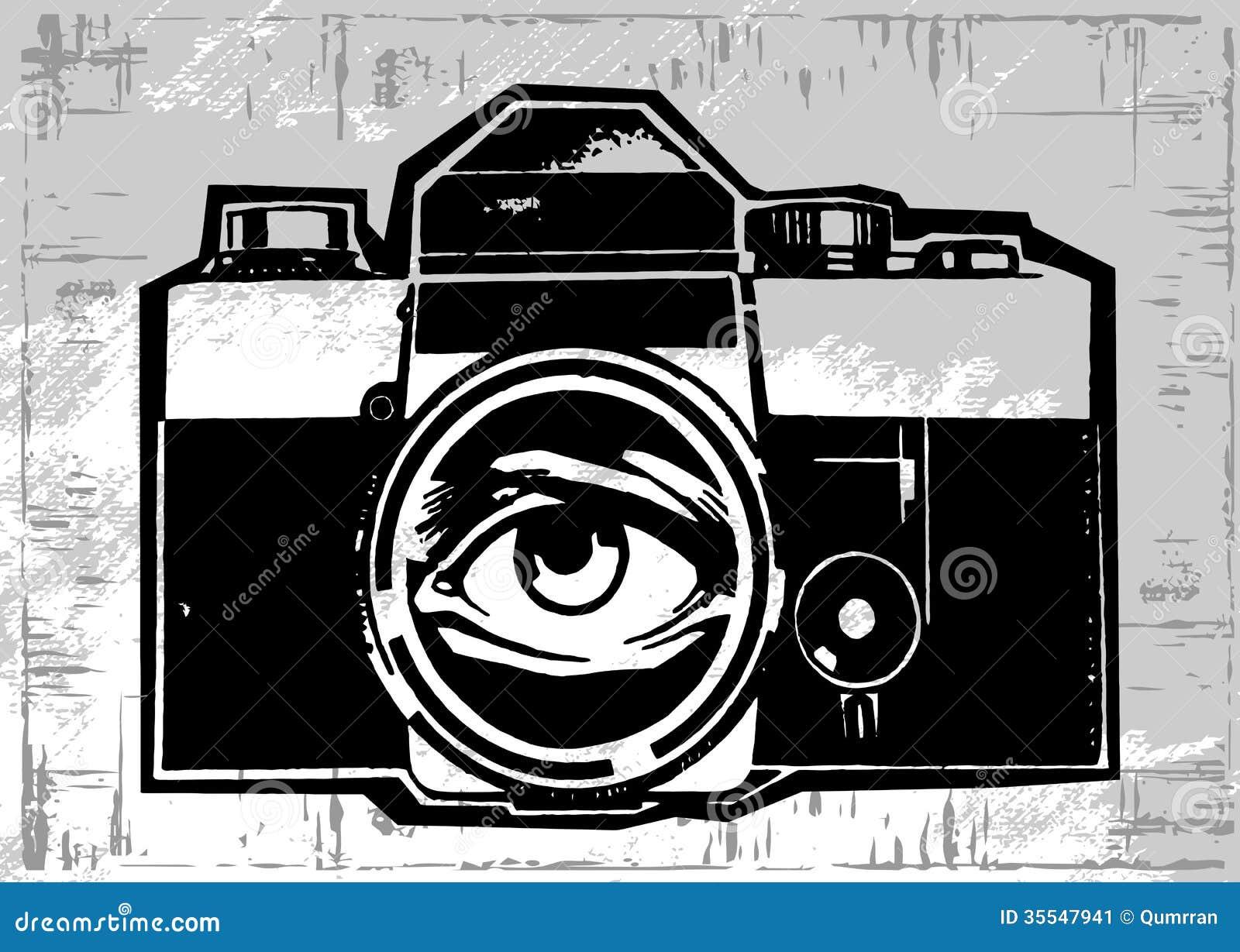 vintage old photo camera drawn vector llustration stock