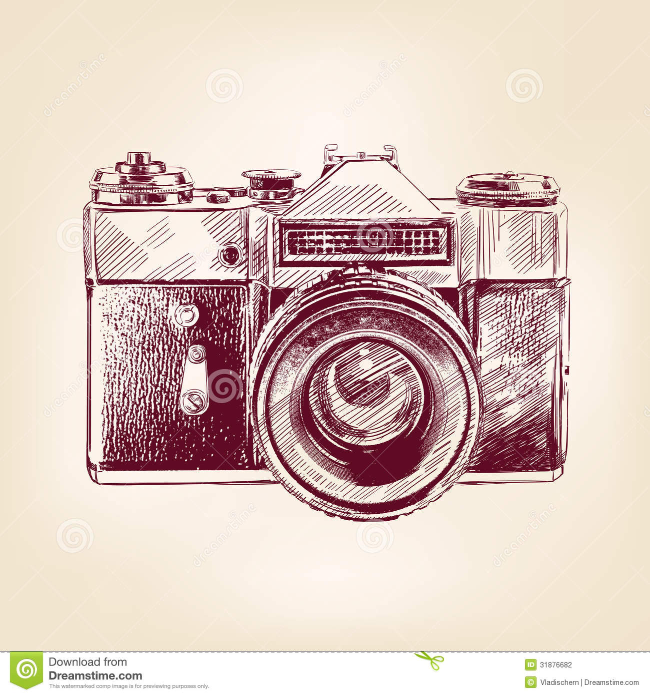 Vintage Old Photo Camera Vector Llustration Stock