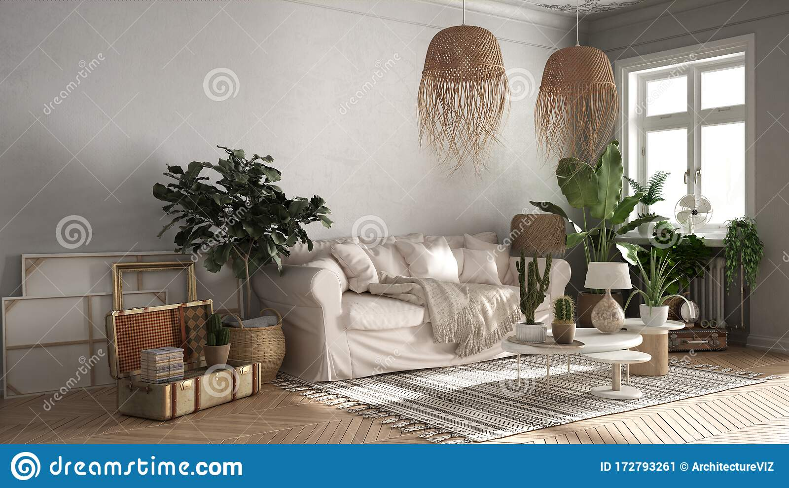 Vintage Old Style Living Room In Beige Tones Sofa Carpet Pillows And Rattan Pendant Lamps Tables With Decors And Potted Stock Illustration Illustration Of Living Rustic 172793261