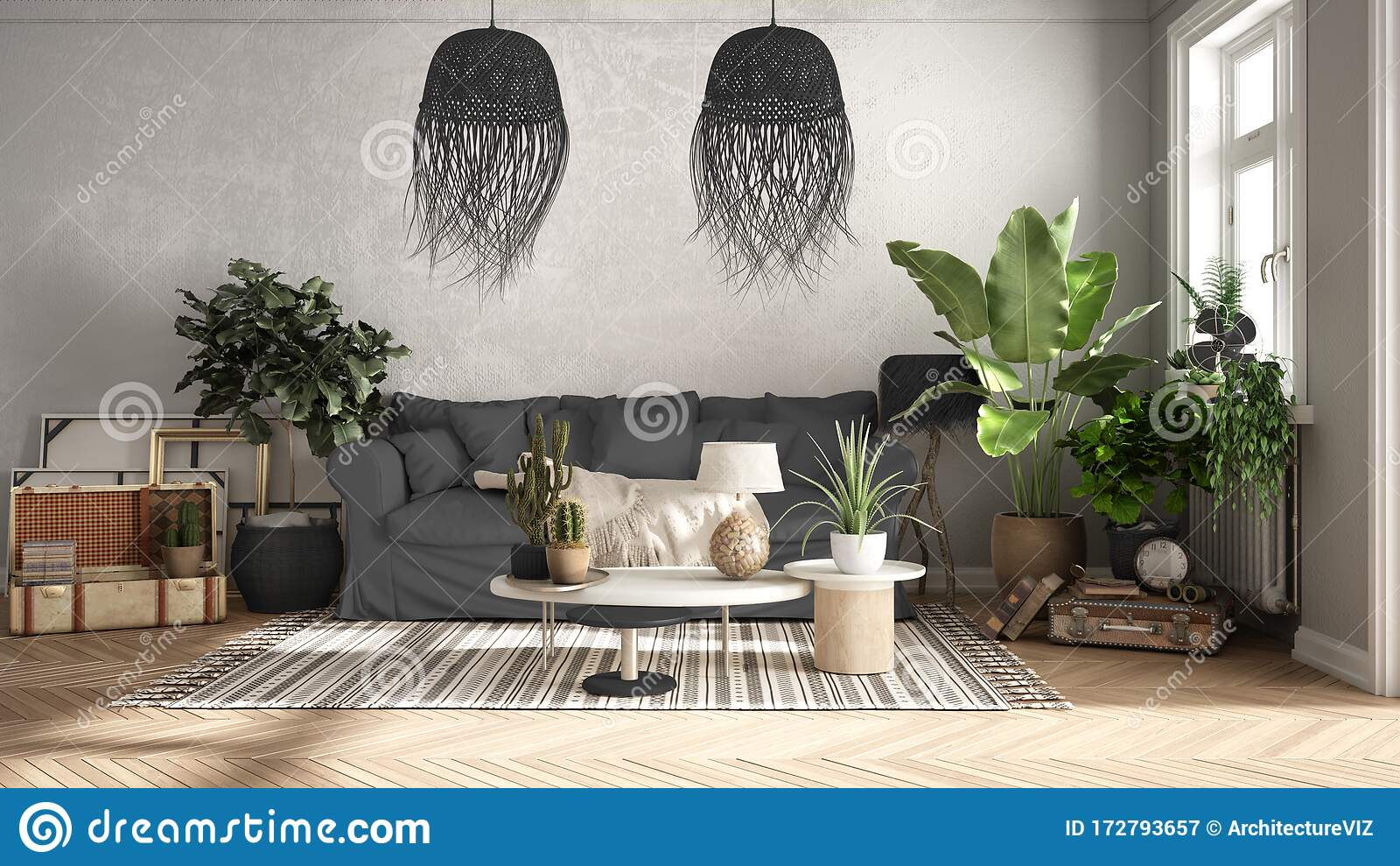 Vintage Old Style Living Room In Gray Tones Sofa Carpet Pillows And Rattan Pendant Lamps Tables With Decors And Potted Plants Stock Image Image Of Retro Closeup 172793657