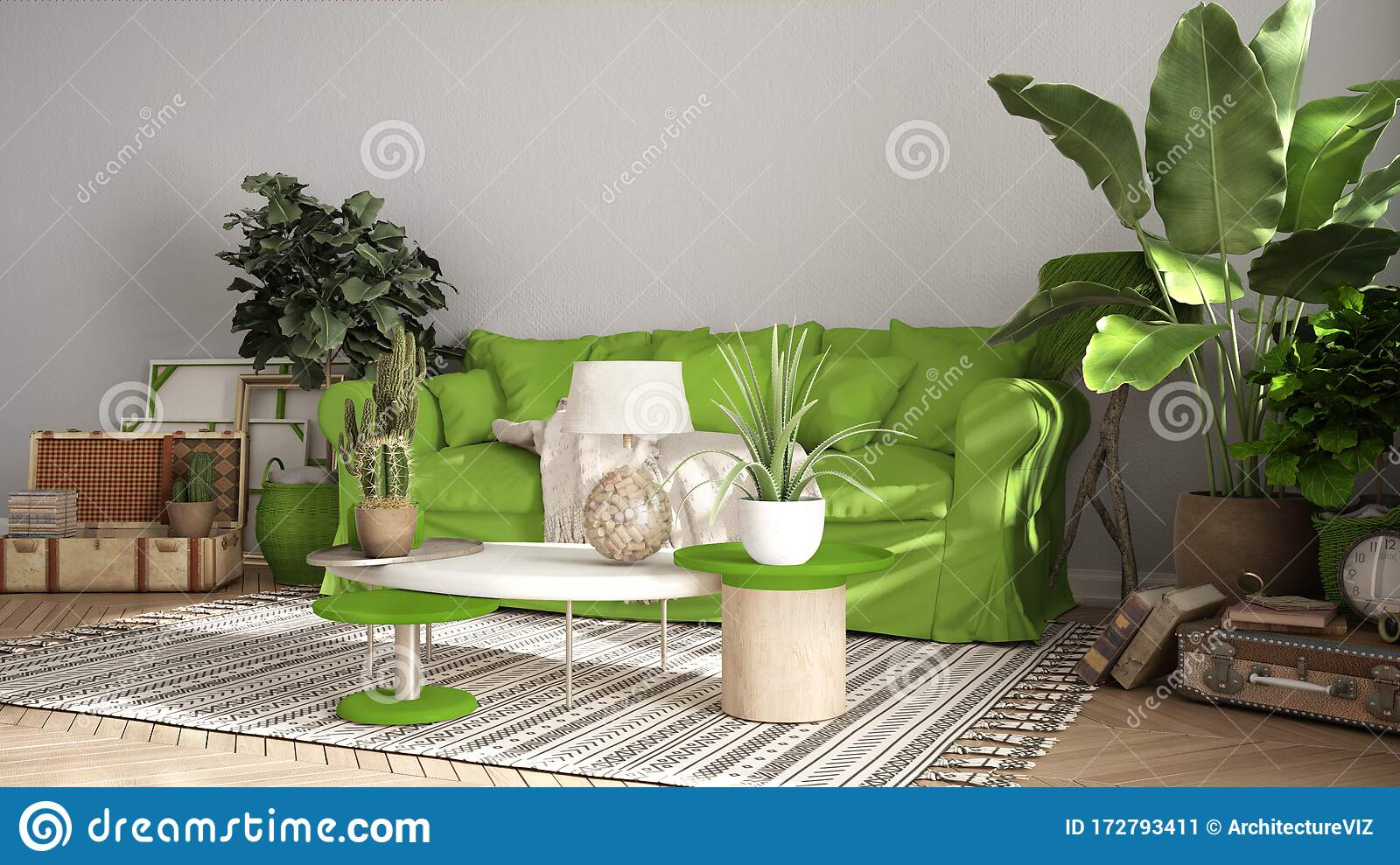 Picture of: Vintage Old Style Living Room In Green Tones Sofa Carpet And Pillows Tables With Decors And Potted Plants Carpet Window Stock Illustration Illustration Of Indoor Design 172793411