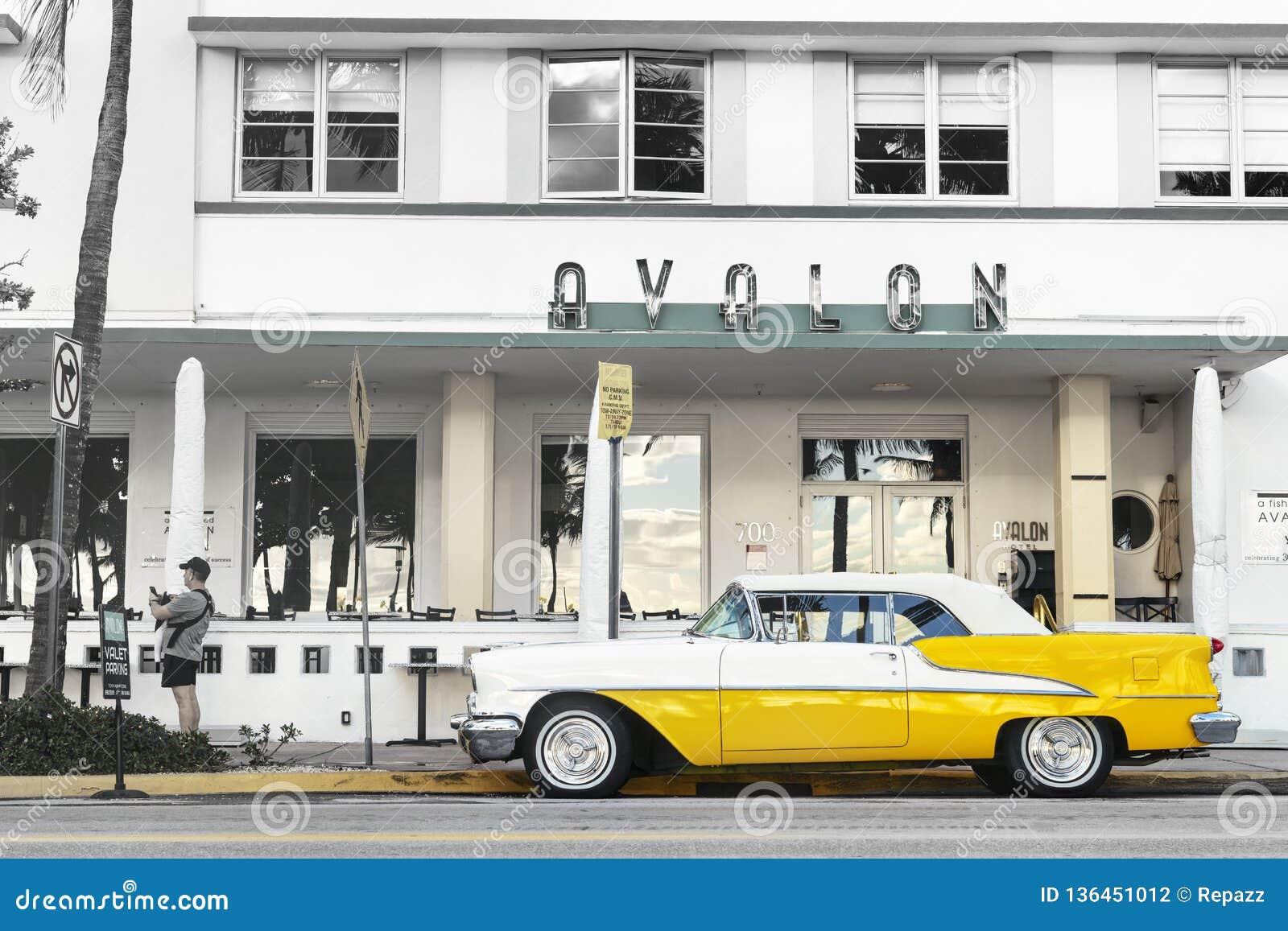 Vintage Oldsmobile Convertible In Miami Editorial