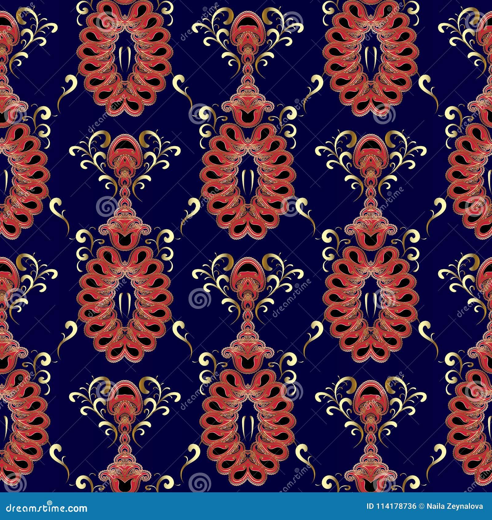 Vintage Oriental Paisley Seamless Pattern Vector Dark Blue