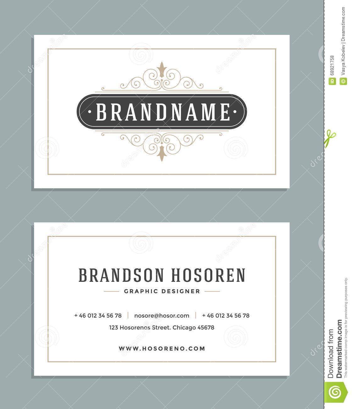 Vintage Ornament Business Card Vector Template. Retro Luxury Logo, Royal Design. Flourishes frame.