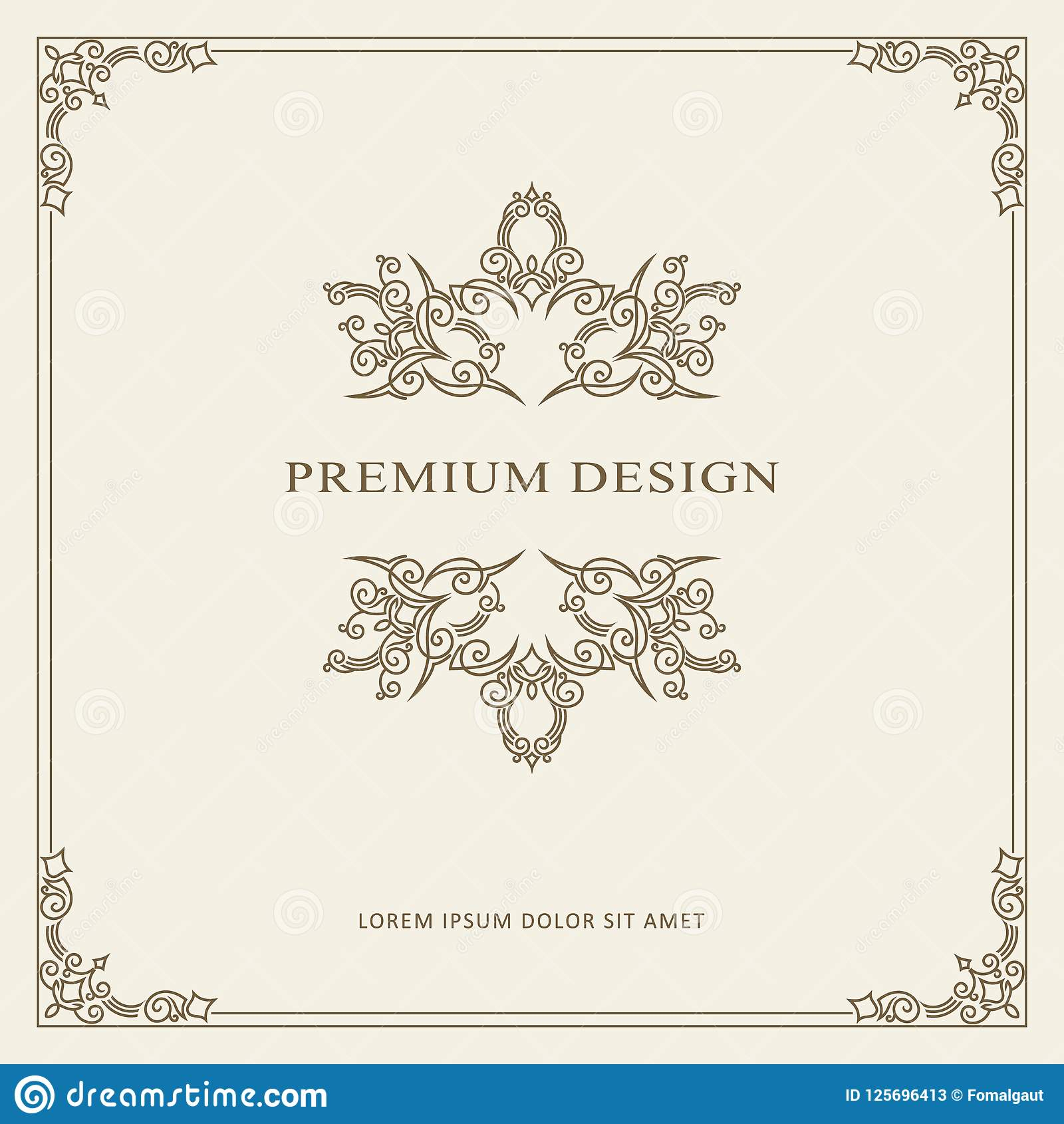 Vintage Ornament Greeting Card Vector Template. Retro Luxury Invitation, Royal Certificate. Flourishes frame. Vector Background