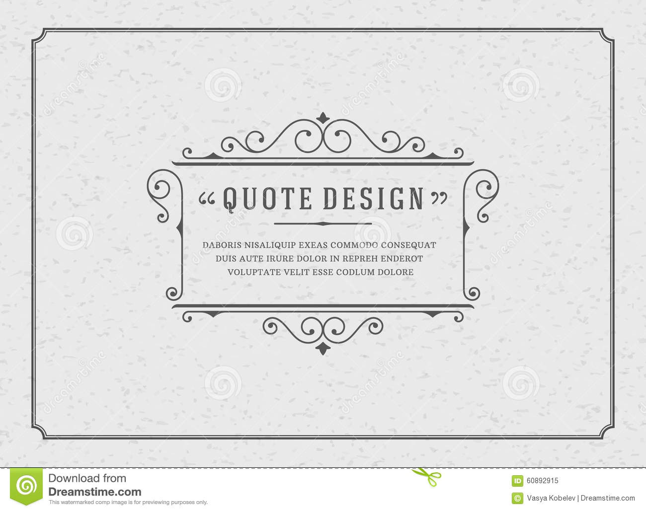 Vintage Ornament Quote Marks Box Frame Vector Inspire Background