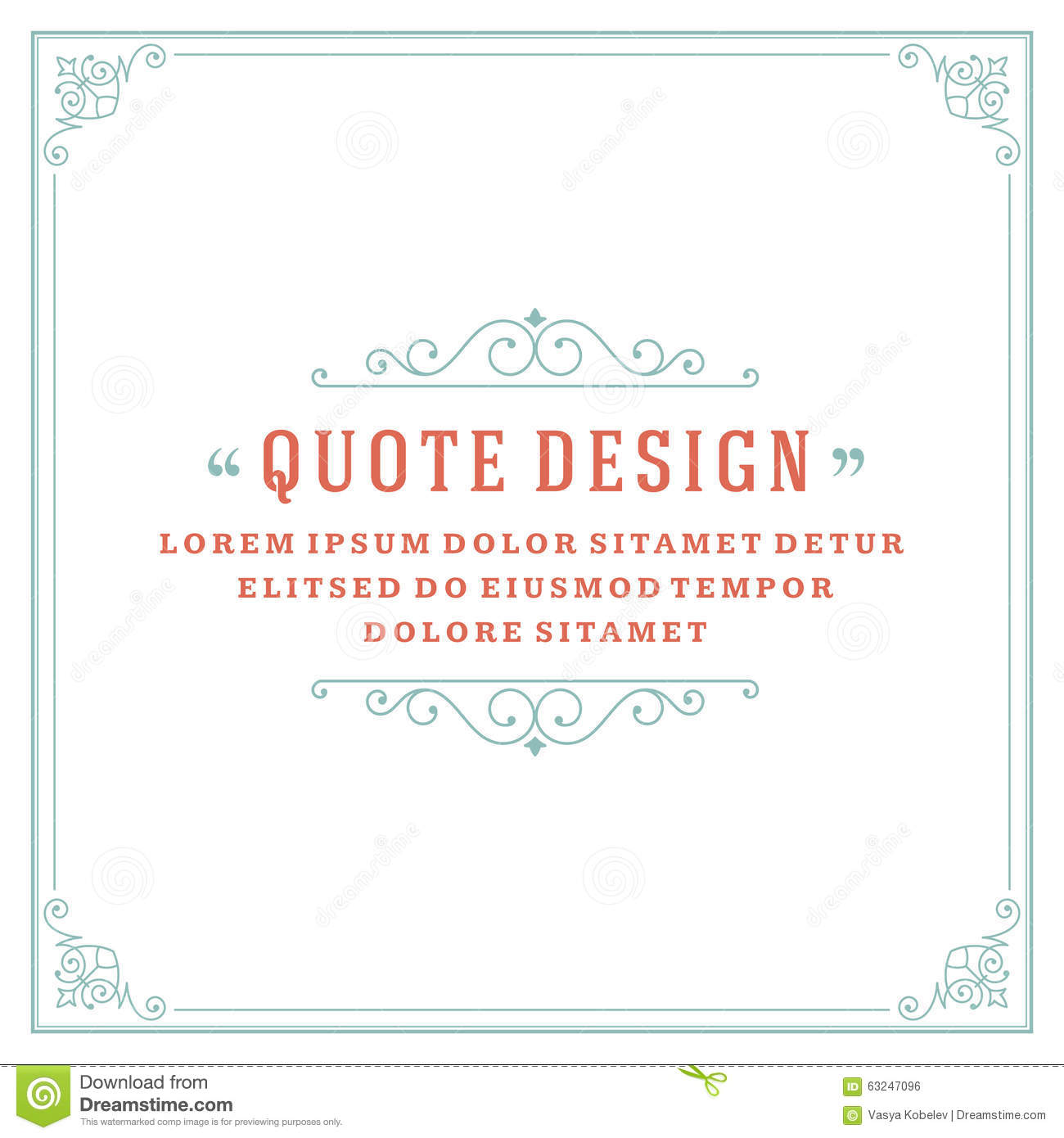 Po Frame Template | Vintage Ornament Quote Marks Box Frame Vector Stock Vector Image