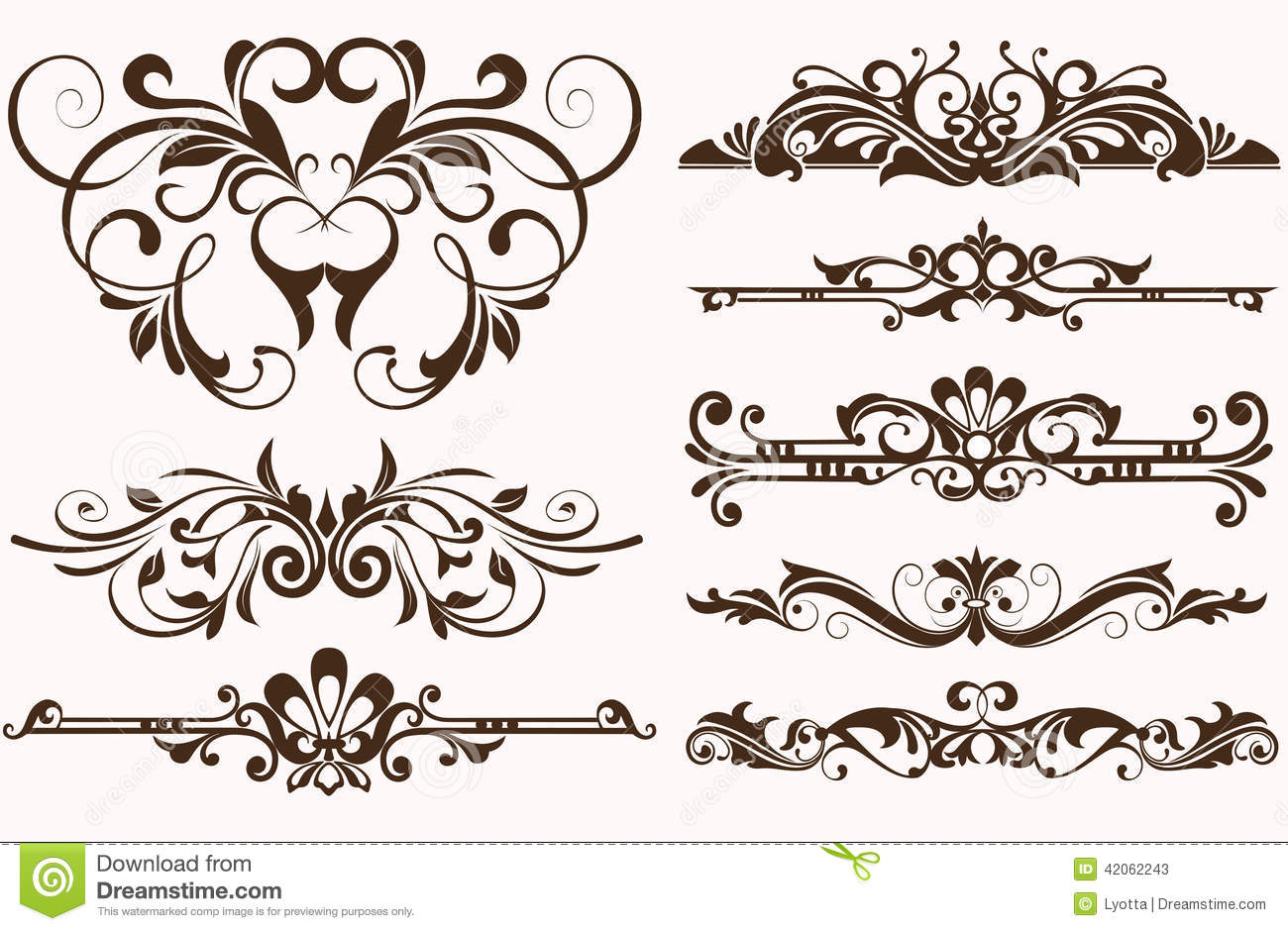 Vintage Frames And Corners With Delicate Swirls In Art Nouveau For Decoration Design Works Floral Motifs Style Beautiful