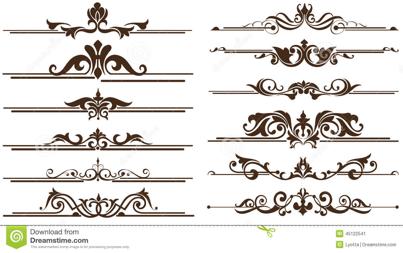 Vintage style ornaments - Vintage Ornaments Corners Borders Design Stock Image