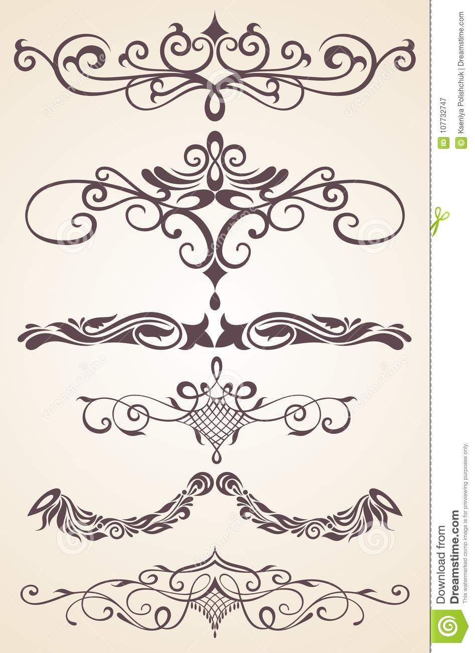Vintage ornaments with floral elements for invitation