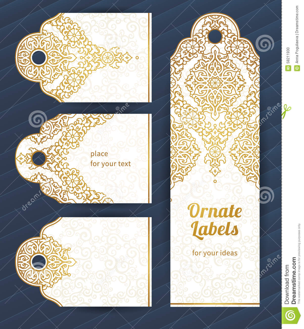 Vintage Ornate Cards In Eastern Style Stock Vector Illustration
