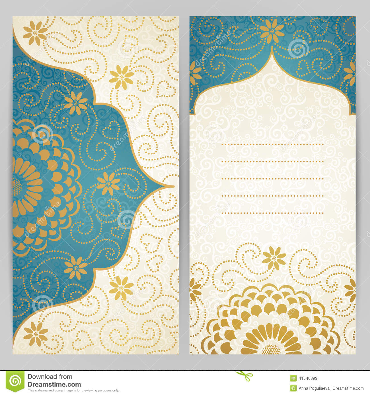 Vintage Ornate Cards With Flowers And Curls Stock Vector
