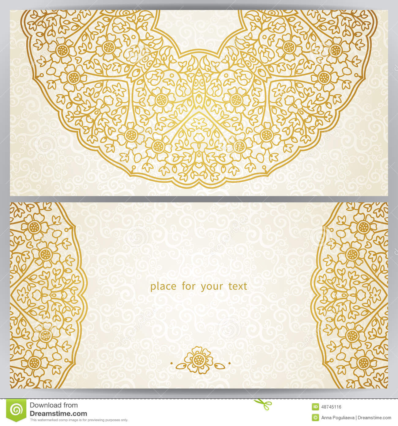 Vintage Ornate Cards In Oriental Style Stock Vector