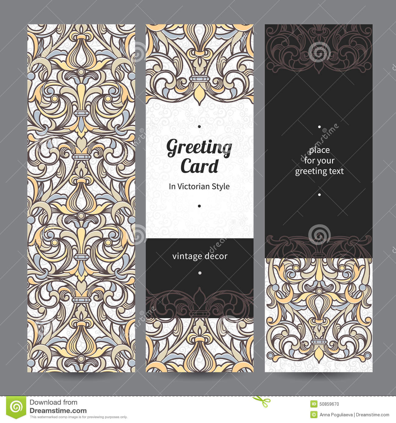 Vintage ornate cards in victorian style stock vector for Decor outline