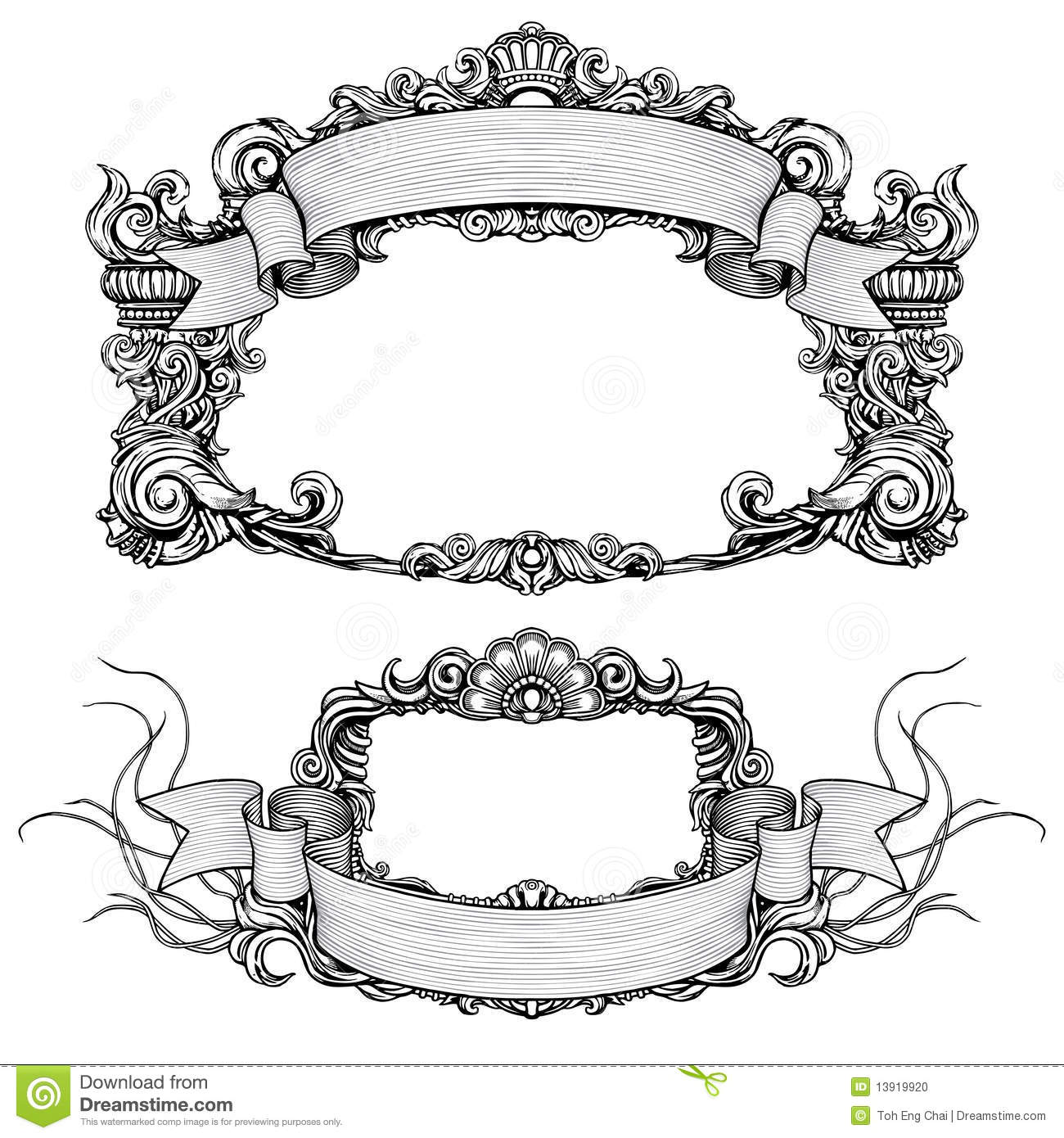 Antique Scroll Design: Vintage Ornate Frames With Scroll Stock Photo