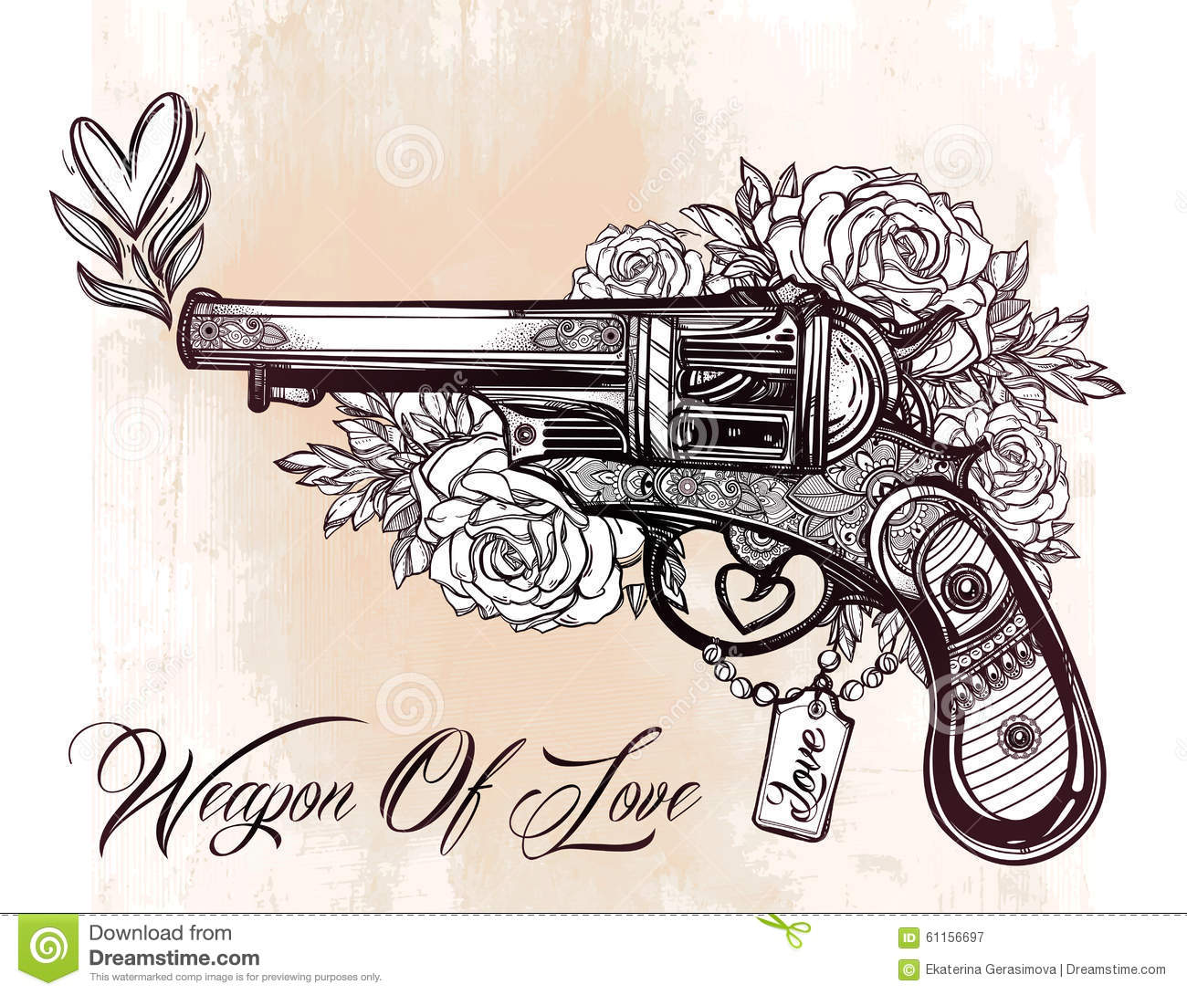 Vintage ornate pistol illustration stock vector image for Tattoo gun prices