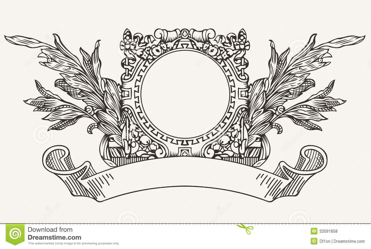 vintage ornate wreath scroll banner illustration 32091858 megapixl