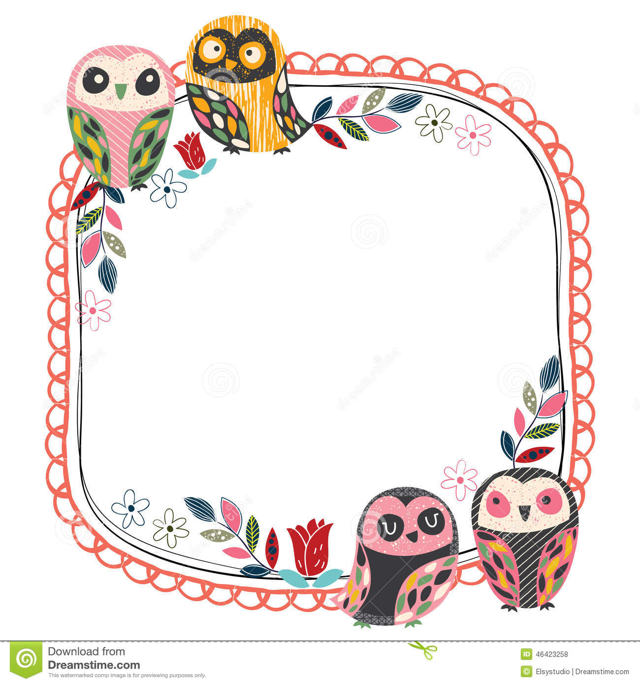 Vintage Owl Frame Layout 1 Stock Vector - Image: 46423258