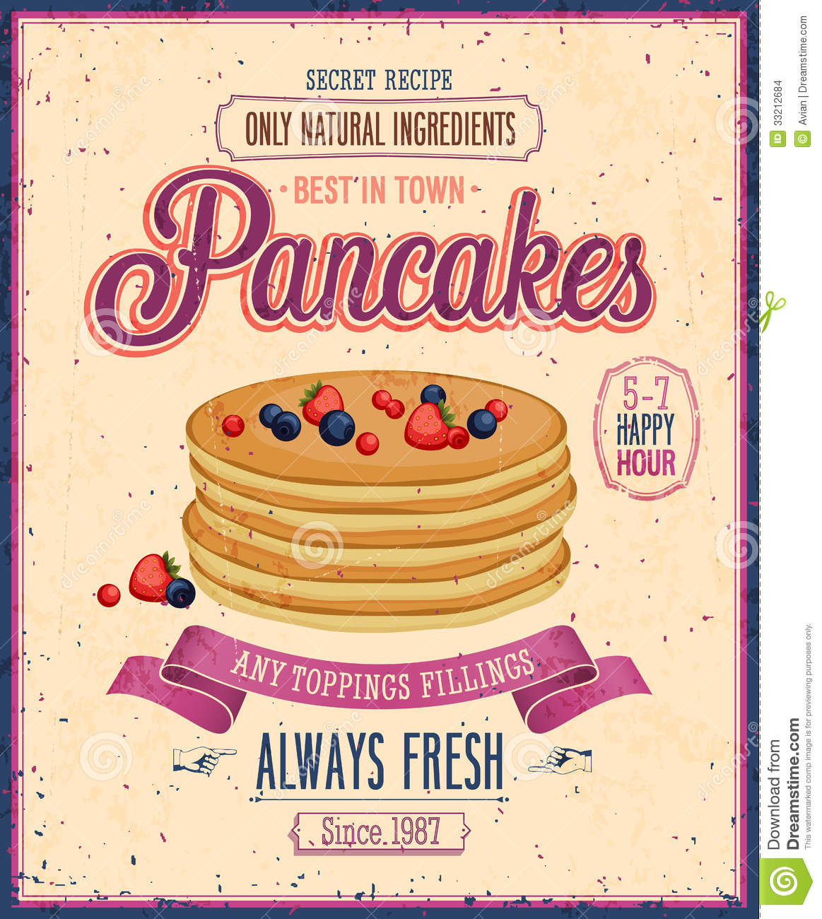 Vintage Pancakes Poster. Stock Images - Image: 33212684