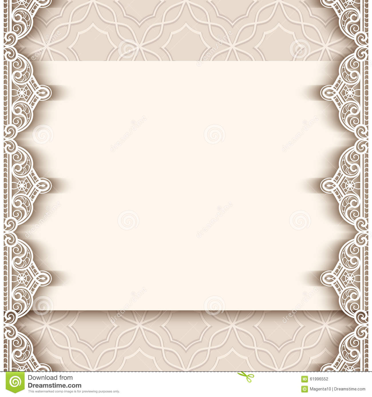 Vintage Paper Background With Lace Borders  Border Paper Template