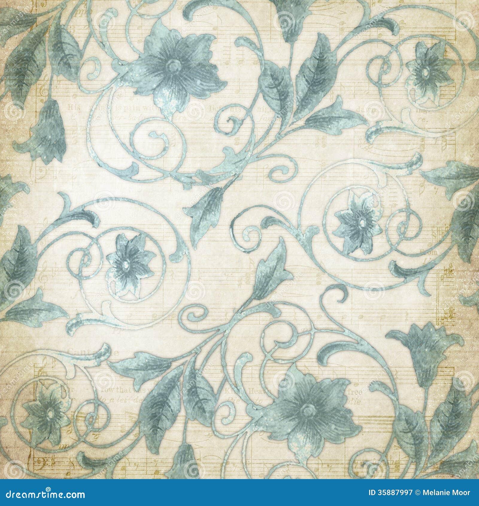 Vintage Paper Blue Flourish 2 Stock Illustration Illustration Of