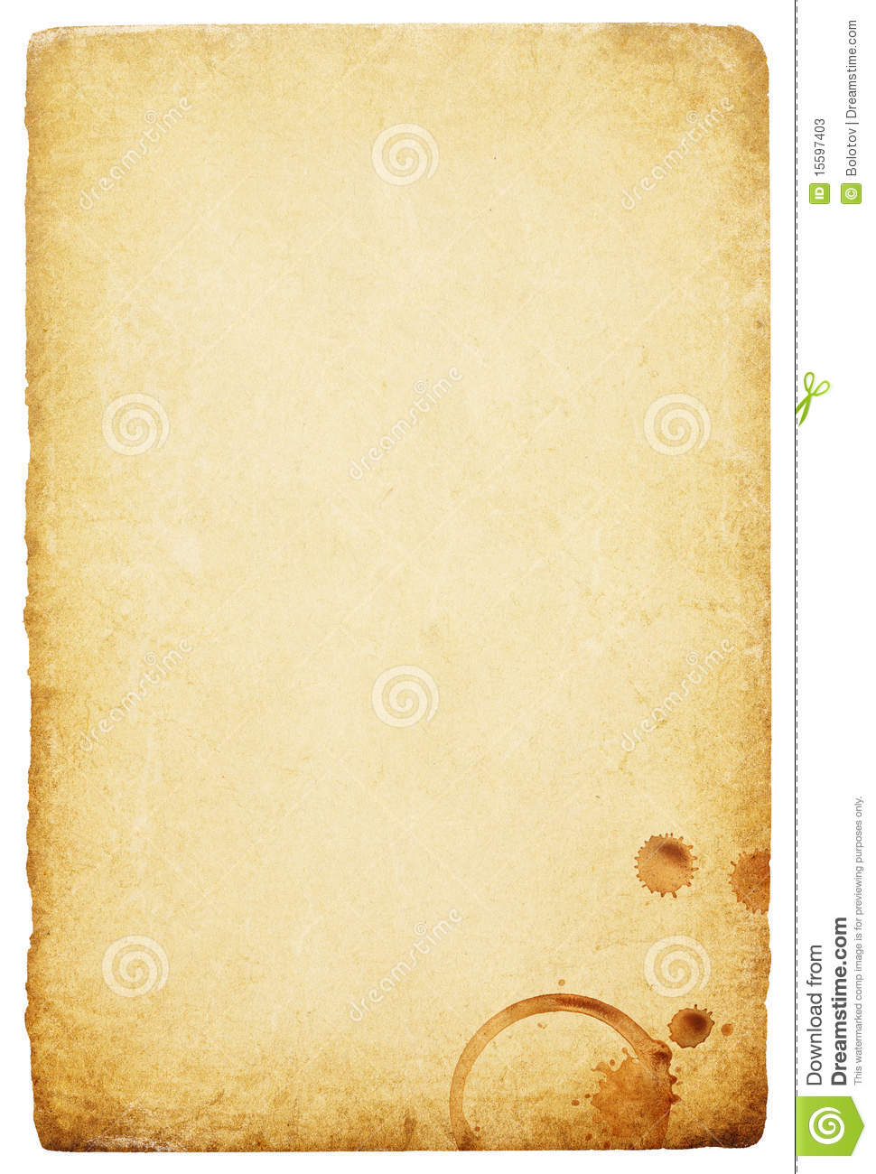 vintage paper with coffee rings stain stock photos